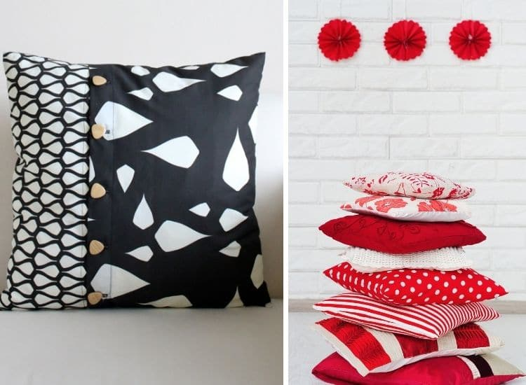 two images. Left side: black and white pillow with brown buttons up the front. Right side: red and white pillows stacked up in front of white brick wall - how to sew an envelope pillowcase