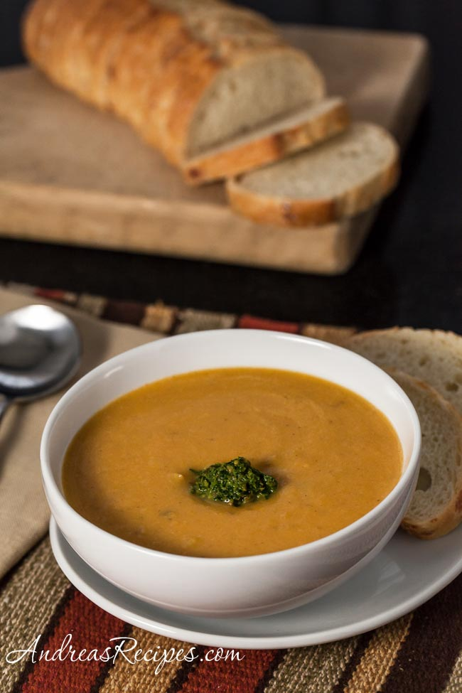 Butternut Squash and Cannellini Bean Bisque with Parsley, Sage, and Pistachio Pesto - Andrea Meyers