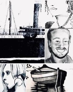 Konst Art Black and White Landscape Titanic