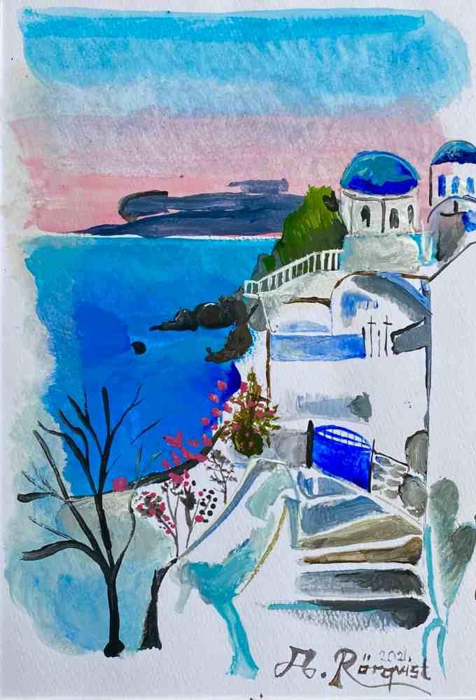Grekland, Santorini, Andreas Rörqvist, Konst, Akrylfärg