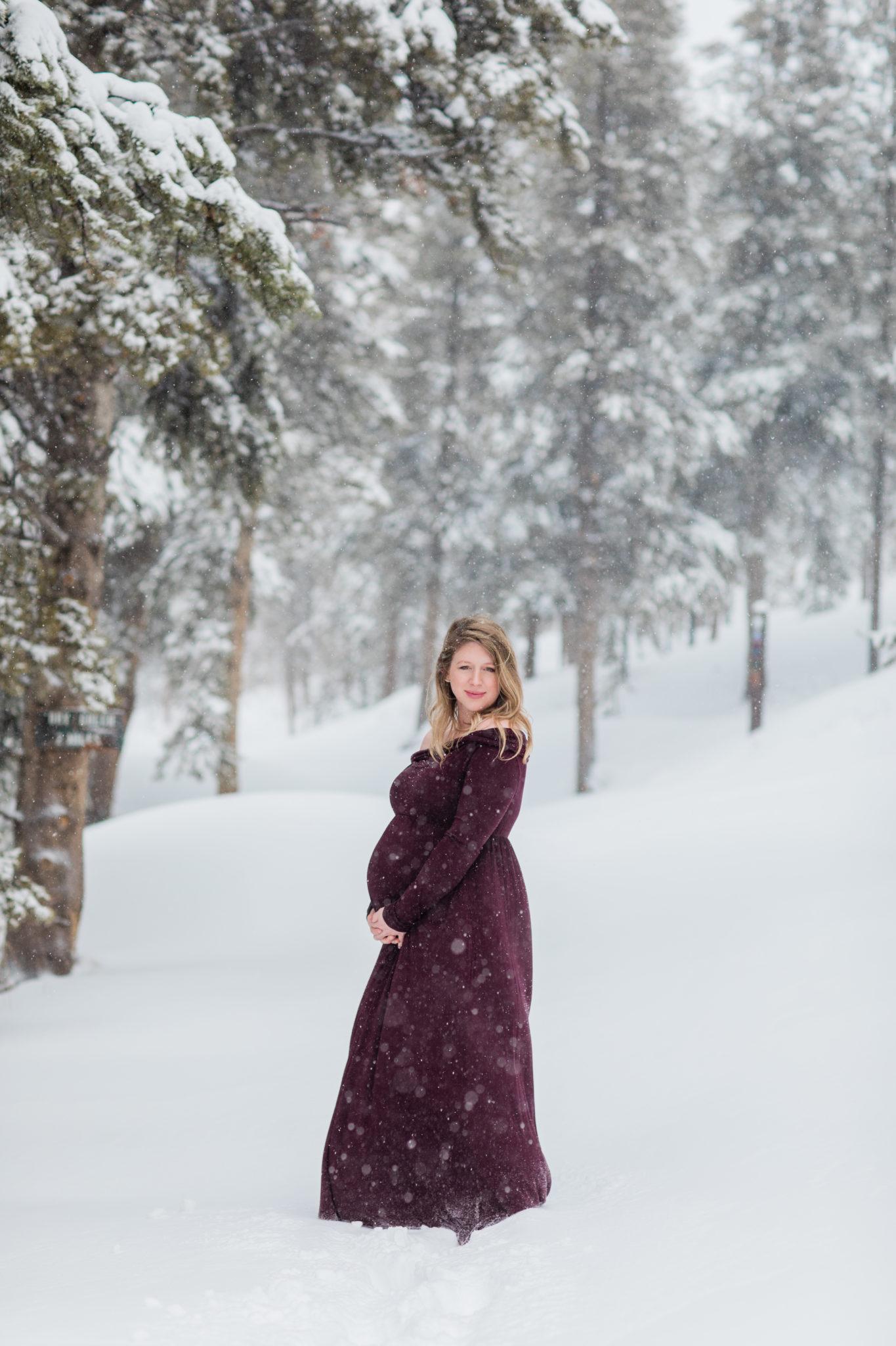 Andrea Stark Photography Maternity Session Winter Snow Breckenridge Colorado