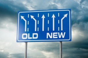 Image of a road sign indicating a new direction