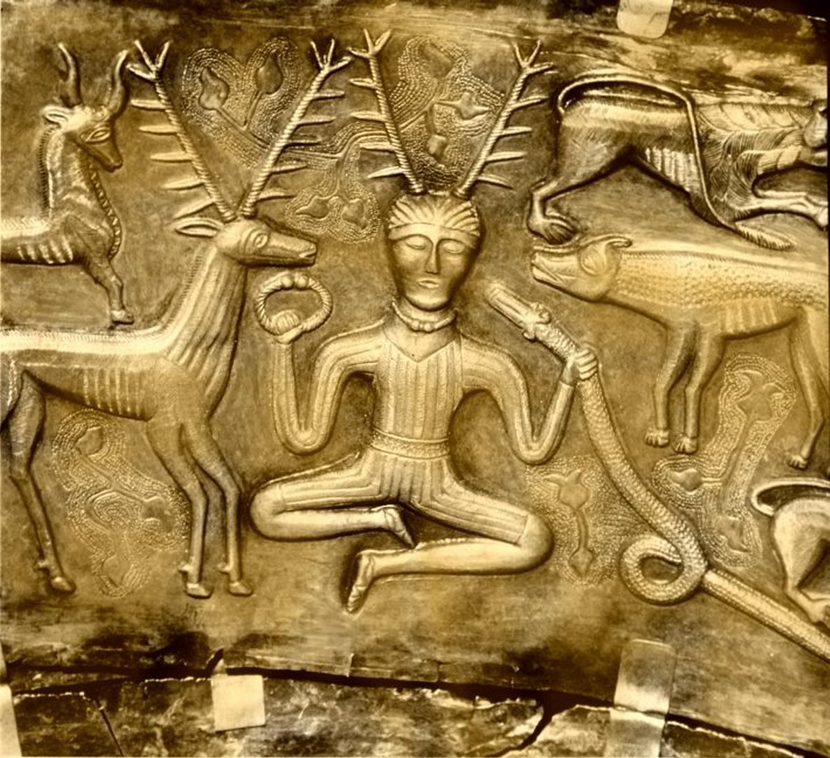 Ancient Celtic figure of Cernunos, showing him as Shaman, Yogi, and Prajapati, the original tribal Shiva, 'Lord of the Creatures.'