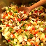 Vegetarian Chili: sautéing the vegetables.