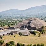 Teotihuacan - Pyramid of the Moon viewed from Pyramid of the Sun