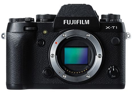 Fuji X-T1 front view showing the sensor
