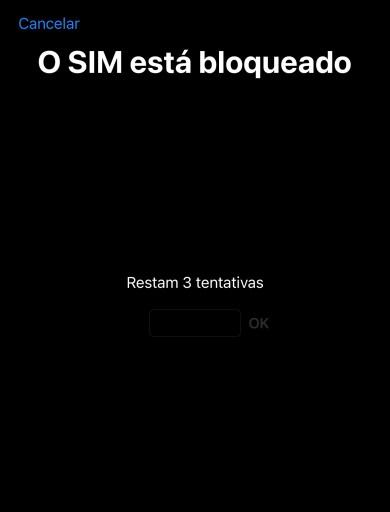 """A imagem mostra a tela com o título """"O SIM está bloqueado"""", com um campo de texto para digitação do PIN com a mensagem """"Restam 3 tentativas""""."""