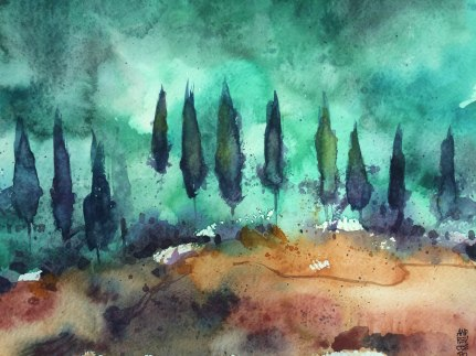 watercolours on paper