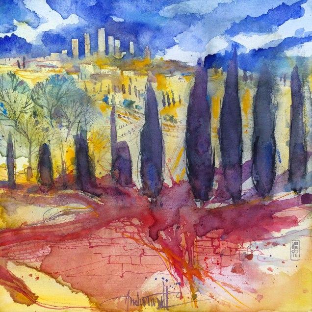 Watercolours on canvas cm 30x30