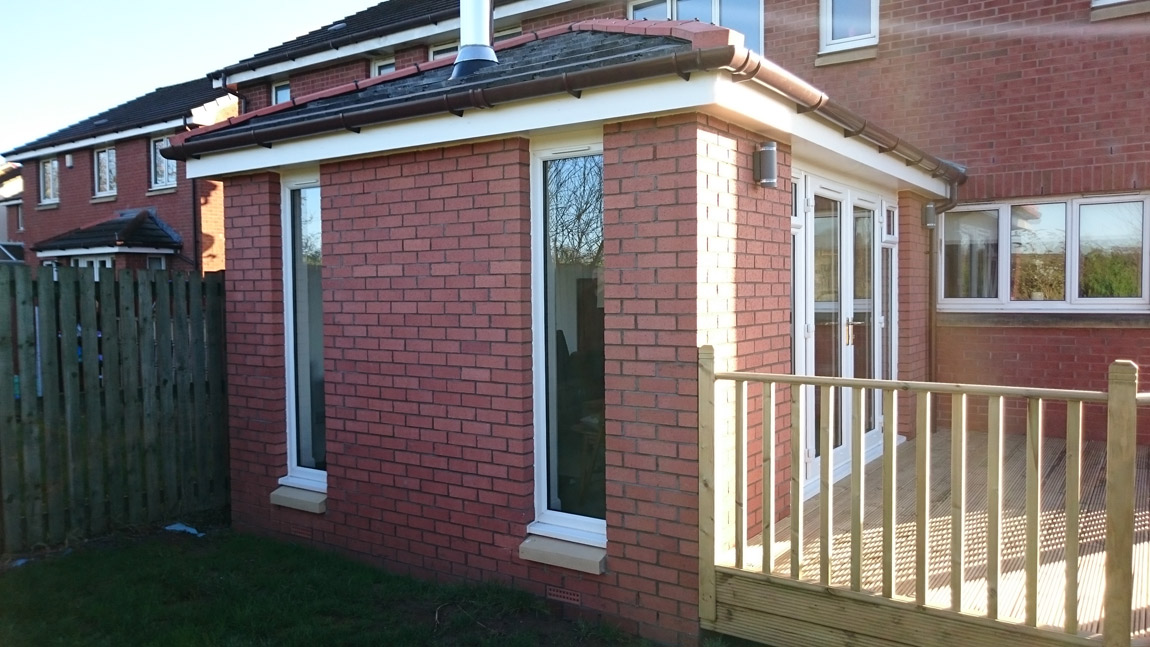 facing brick single storey extenion to rear with solid fuel stove