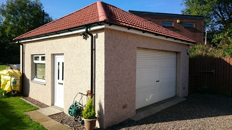 large double garage with workshop and toilet facilities