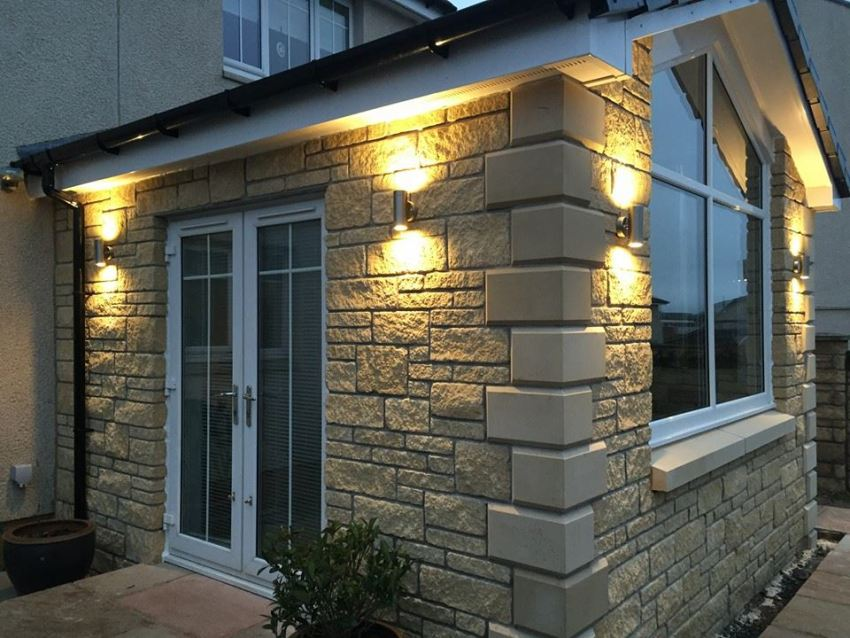 stone finished single storey extension