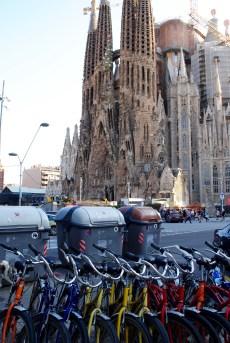Bike tour stop at La Sagrada Familia