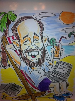 Cartoon of Andrew in Barbados