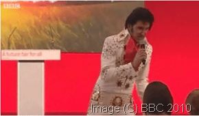 Elvis Impersonator at Labour Rally (C) BBC