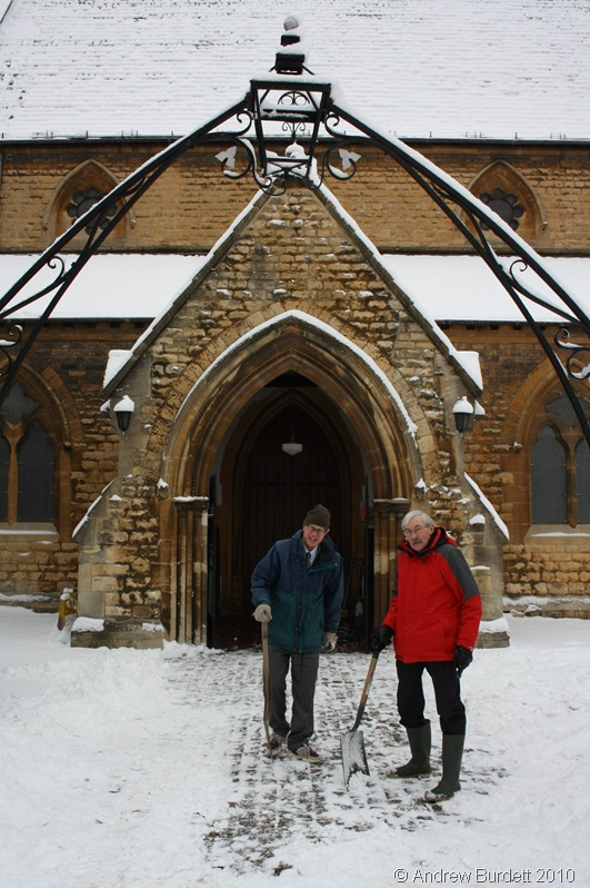 MEN AT WORK_Peter Goford and Don Luff, both members of St Luke's Church in Maidenhead, work hard to clear snow outside the porch.