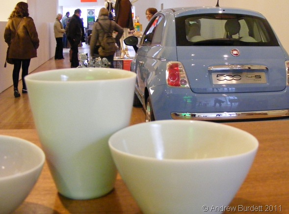 CUPS AND CARS_Crockery and a Fiat 500 stand side-by-side at the museum.