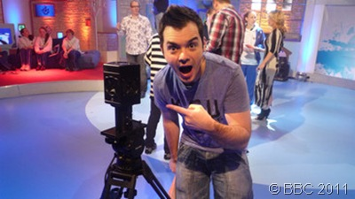 CAMERA-MAN_Presenter Barney Harwood with the technology.