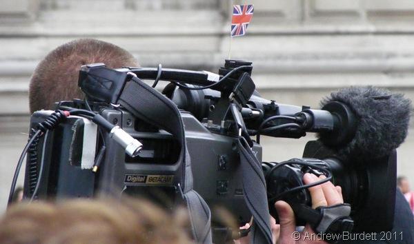 PATRIOTIC CAMERAMAN_A camera wears a Union Flag.