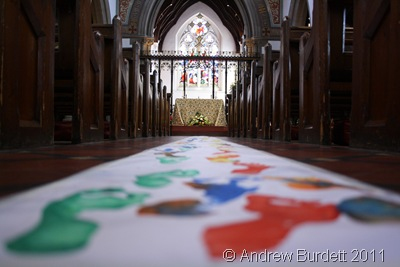FOOTPRINTS DOWN THE AISLE_The path of footprints produced at Friday's activity morning.