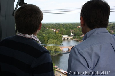 THE LOOK OUT TOWER_Matthew and Father looking out over the River Avon.
