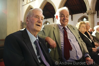 OLD BOY_Len Reynolds, left, sat with a friend of Sally's, just before the service began.