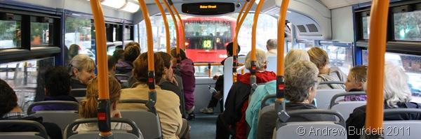 BUS THROUGH LONDON_Church trip members take the bus through the Capital.