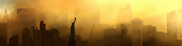 DUST TO DUST_Smoke hangs over the Manhattan skyline in the days following the attack.