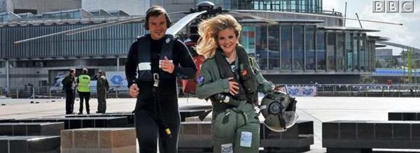 TOUCHDOWN_Barney Harwood and Helen Skelton arrive by boat and helicopter respectively, at MediaCityUK.