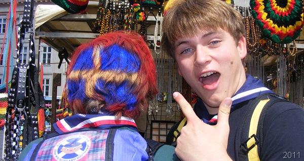 FLAG THIS ONE UP_A UK-contingent Jamboree participant, wears Sweden's national colours in his hair. (File: WSJ11_0137)