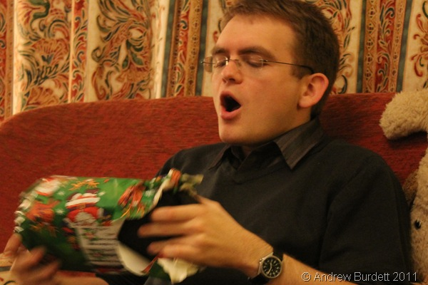 SHARP INTAKE_Matthew goes for a less reserved method of breaking into his presents, and was surprised but delighted with my gift of a washbag.