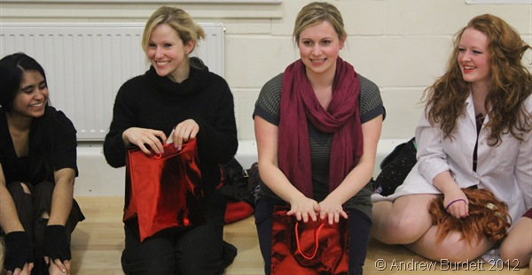 SMILING FACES: Miss Satterthwaite and Mrs Bradley with their gifts from the cast. (IMG_2930)