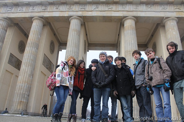 OLD FRIENDS: Me (fourth from left) and my fellow Year 11 students at the Brandenburg Gate. (IMG_7552)