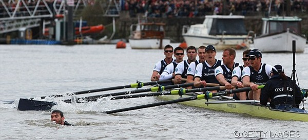 DEATH DEFYING ACT: The swimmer dodged the oars of Oxford's crew.