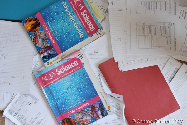 ALL NOW REDUNDANT: The Chemistry books and past papers that littered my floor last night can now be tidied away. (IMG_3363)