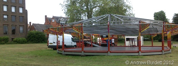 PREPARATIONS: Dodgems and amusement rides being set up on Thursday morning. (31052012242)