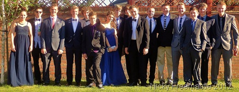 ALL TOGETHER NOW: Me, just right of the centre (seventh from R) at Louis's pre-prom drinks gathering. (073_NickyFreemantle-editedandcropped)