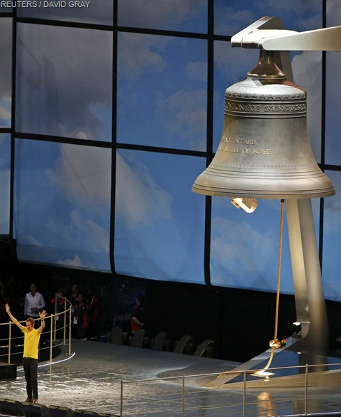 RINGING IN THE OLYMPICS: Bradley Wiggins rang the Olympic Bell to begin the Ceremony.