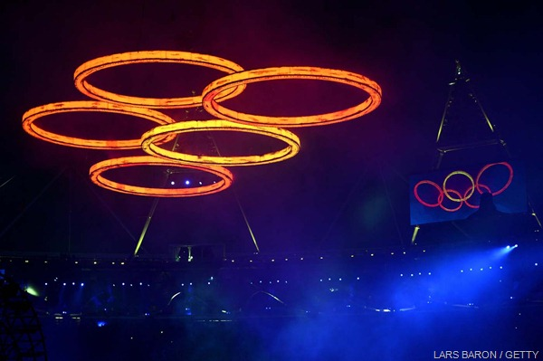 FIVE GOLD RINGS: The glowing Olympic rings seen above the stadium.