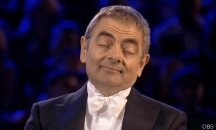 DOZING OFF: Mr Bean going to sleep.