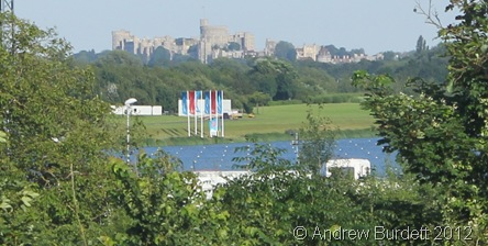 SEEN THROUGH THE TREES: The blue water is from Dorney Lake (or Eton Dorney as its official London 2012 name is) with Windsor Castle in the background. (IMG_9567)