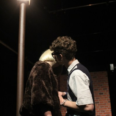 KISSING IN THE NIGHT-LIGHT: Audrey (Tilly Mitchell) and Seymour (Mark Janes) in an on-stage snog. (IMG_2621_ARB)