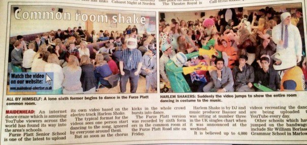 How the Maidenhead Advertiser reported on our Harlem Shake video.