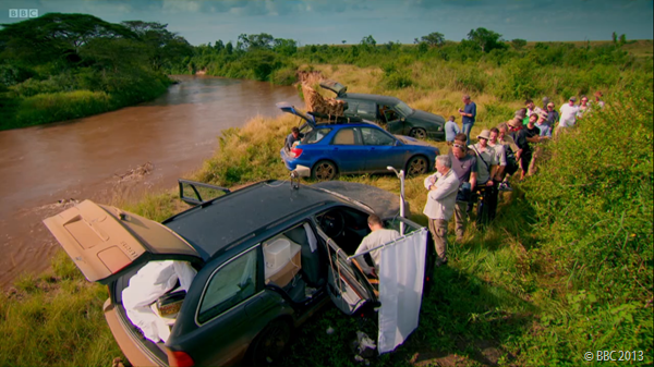 THE LOO QUEUE: Among the beautiful scenery, the Top Gear film crew make use of Jeremy's lavatory.