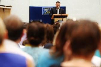 PRIZE-GIVER: Mr Morgan, Head of Eton House, introduces the Eton 'graduates'.