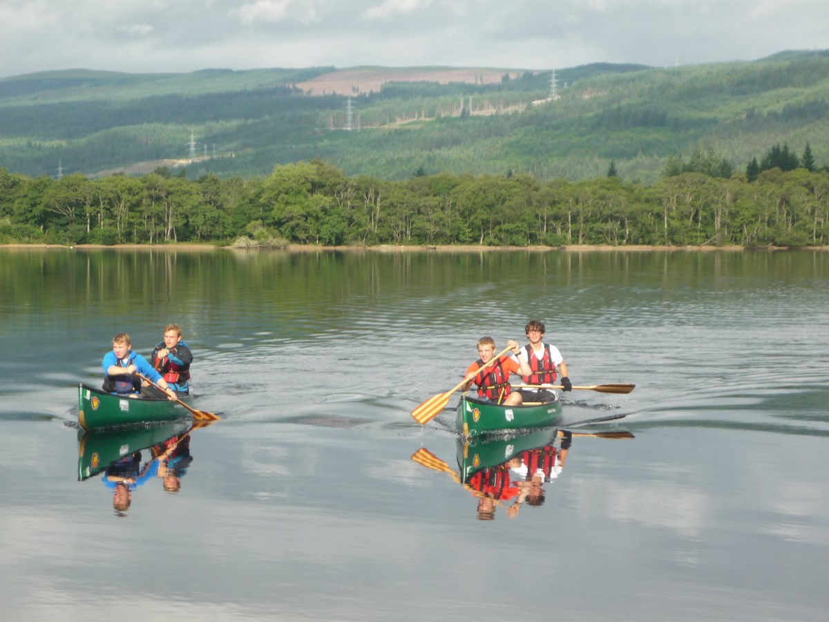Andrew Burdett and friends canoeing on Loch Ness.