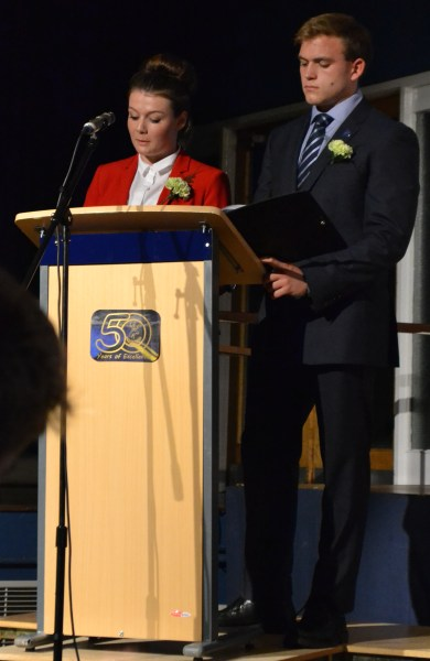 Sarah Donlon and Andrew Burdett speaking at Furze Platt Senior School's Celebration (Speech) Evening in September 2013.
