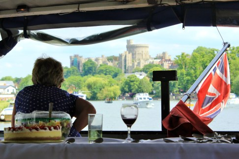 Sally Somerville looks back at Windsor Castle, after the boat turned to return to Maidenhead.