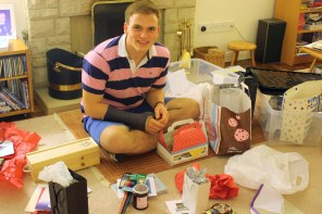 An impressive –and completely unexpected – hoard, as Andrew unwrapped gifts.