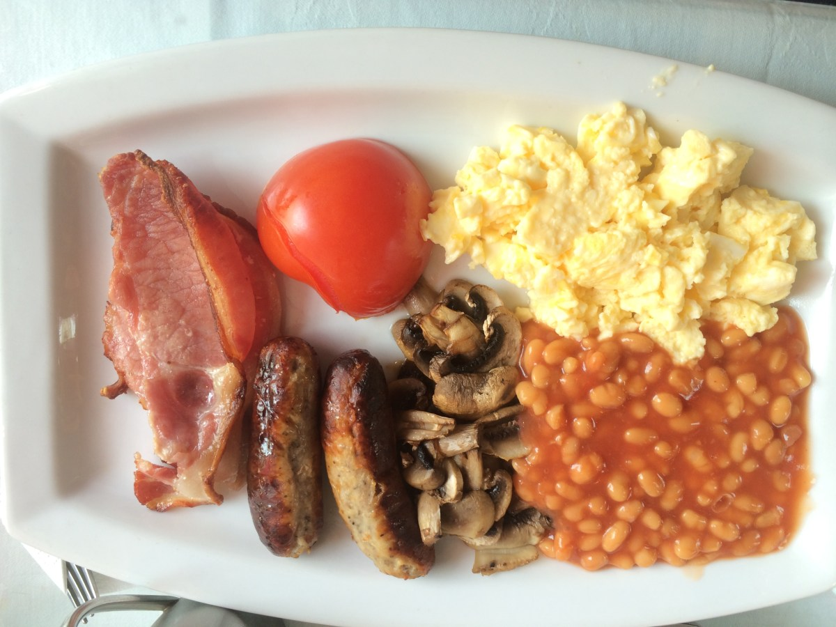 A full English breakfast, as served at the Crooked House of Windsor.